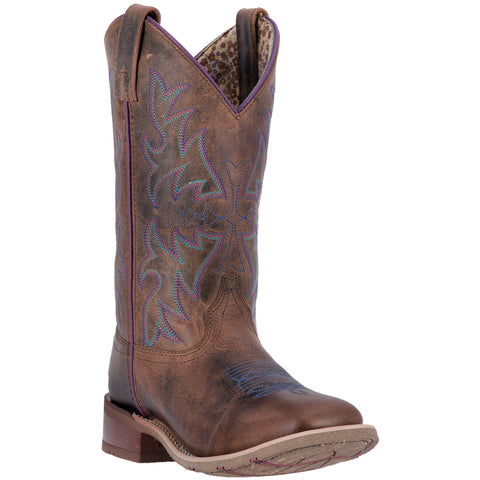 Laredo Ladies Ellery Rust Embroidered Square Toe Western Boots 5654 - Wild West Boot Store