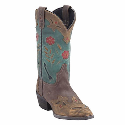 Laredo Ladies Miss Kate Brown and Teal Cowgirl Boots 52138 - Wild West Boot Store - 1