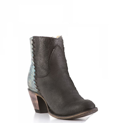 FM1101 Ladies Regina Black & Blue Snake Embossed Ankle Boots FM0016C - Wild West Boot Store