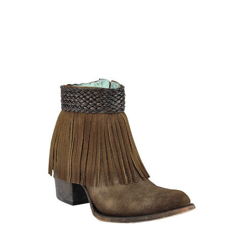Corral Ladies Tobacco Suede Fringe Ankle Boot C3097