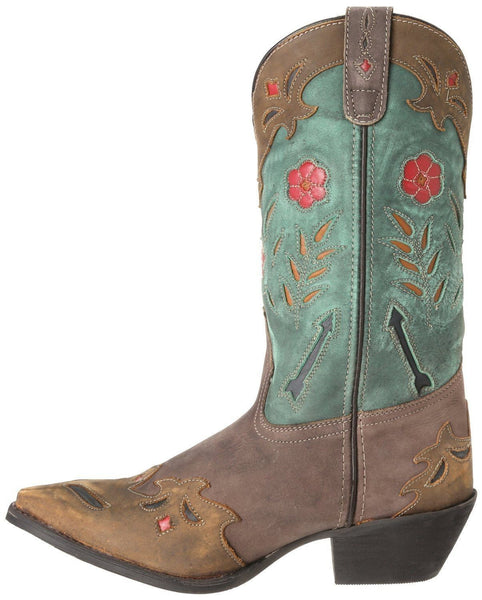 Laredo Ladies Miss Kate Brown and Teal Cowgirl Boots 52138 - Wild West Boot Store - 2