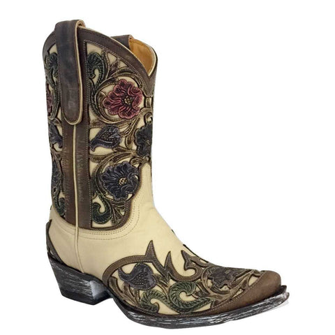 Old Gringo Ladies Abelina Nude 10 Inch Floral Hand Tooled Boot L2408-1 - Wild West Boot Store