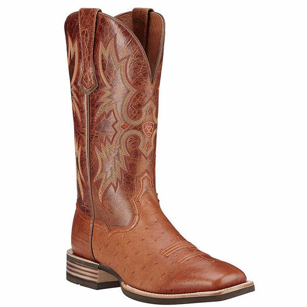 Ariat Men's Brandy Tombstone Smooth Quill Ostrich Boot 10016277 - Wild West Boot Store
