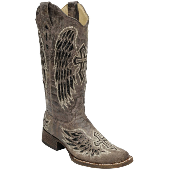 Corral Ladies Brown/Black Wing & Cross Sequence Square Toe Boots A1197 - Wild West Boot Store