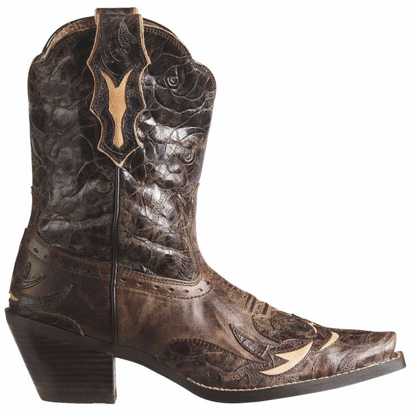 Ariat Ladies Dahlia Wingtip Inlay Distressed Brown Boots 10008780 - Wild West Boot Store