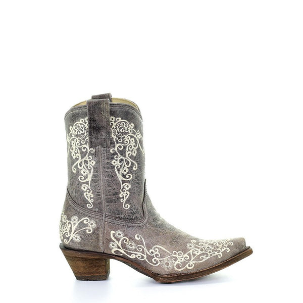 Corral Ladies Lisa Brown Crater Bone Embroidery Shortie Boots A3190