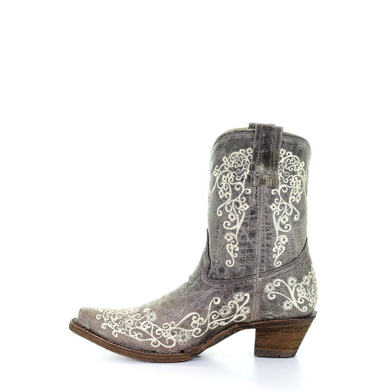 Corral Ladies Brown Crater Bone Embroidery Short Western Boots A3190