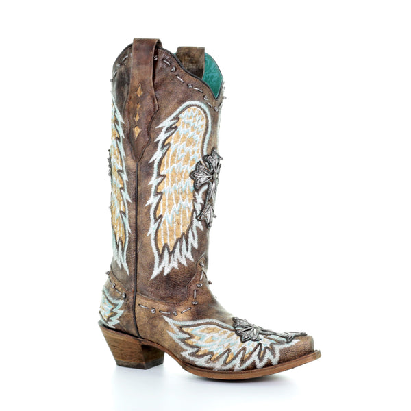 Corral Ladies Chocolate Gnarly Fish Wing & Cross Boots A3495