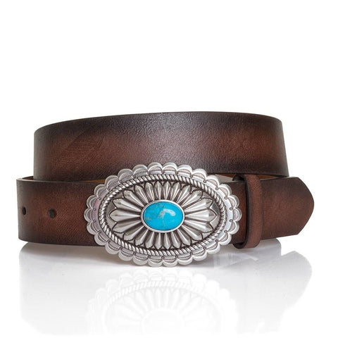 Ariat Ladies Lucinda Brown Belt with Silver & Turquoise Buckle A1512002