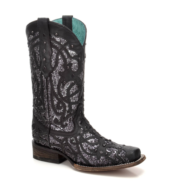 Corral Ladies Black Glittered Inlay Square Toe Western Boots C3265 - Wild West Boot Store