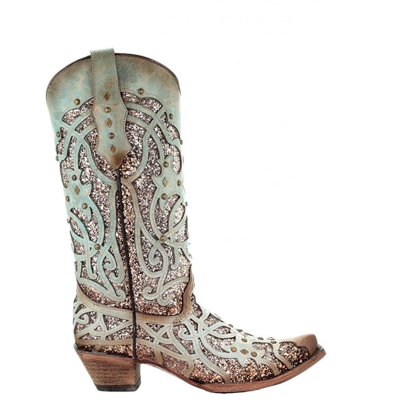 Corral Ladies Mint Glitter Inlay and Studs Western Boots C3332 - Wild West Boot Store