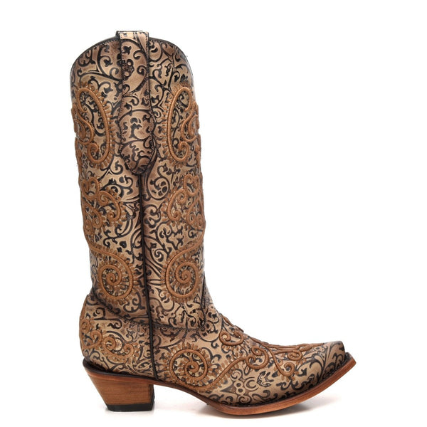 Corral Ladies Nude/Purple Embroidery Chameleon Sun Effect Boots C3360 - Wild West Boot Store