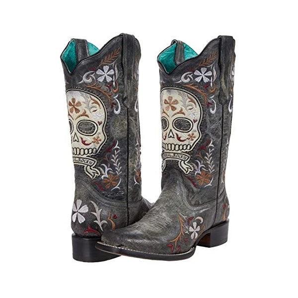 Corral Ladies Black Skull Overlay and Embroidery Square Toe Boots E1653
