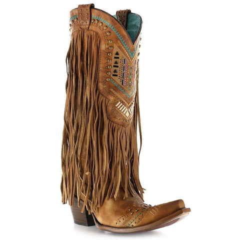 Corral Ladies Multicolor Crystal and Fringe Cowgirl Boot C2910 - Wild West Boot Store - 1