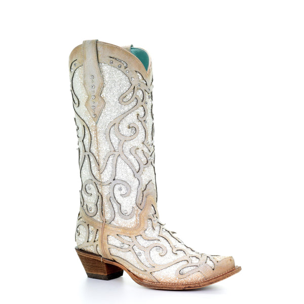 Corral Ladies White Glitter Inlay/Crystals Sniped Toe Boot C3434