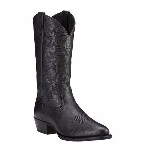 Ariat Men's Heritage Western R Toe Black Deertan Boots 10002218 - Wild West Boot Store