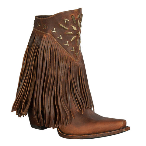 Lane Ladies Fringe It Brick Toned Shortie Cowgirl Boots LB0261A - Wild West Boot Store - 1
