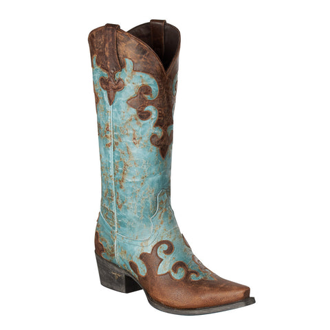 Lane Ladies Turquoise & Brown Overlay Dawson Cowgirl Boots LB0023A - Wild West Boot Store - 1