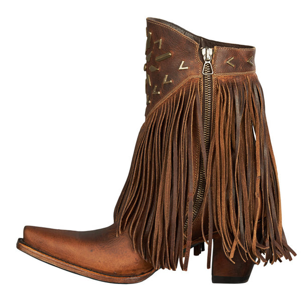 Lane Ladies Fringe It Brick Toned Shortie Cowgirl Boots LB0261A - Wild West Boot Store - 2