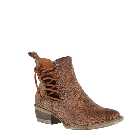 Circle G by Corral Ladies Brown Engraved/Laced Ankle Boot Q5004
