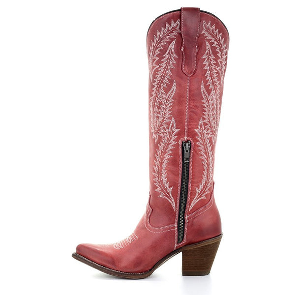 Corral Ladies Rioja Red Embroidered Tall Boot E1318