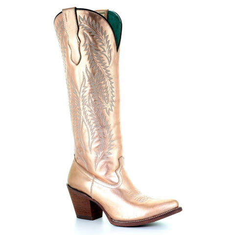 Corral Ladies Gold Metallic Embroidery Tall Zip Knee-High Boots E1380