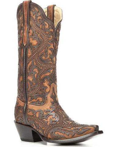 Corral Ladies Brown Full Overlay and Stud Boots G1309 - Wild West Boot Store