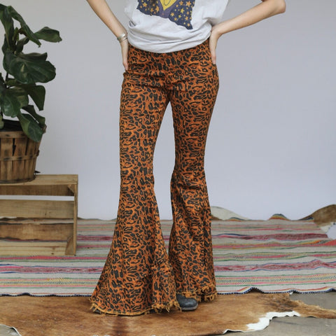 Turquoise Haven Ladies Cheetah Denim Bell Bottoms 8009-CHE