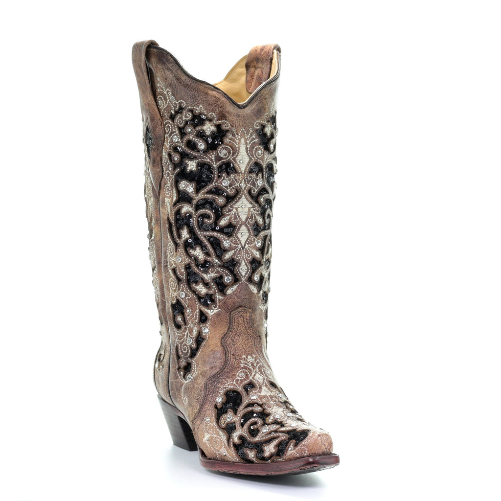 43d658cc5e0 Corral Ladies Ashley Brown Floral & Black Sequin Inlay Boots A3569 ...