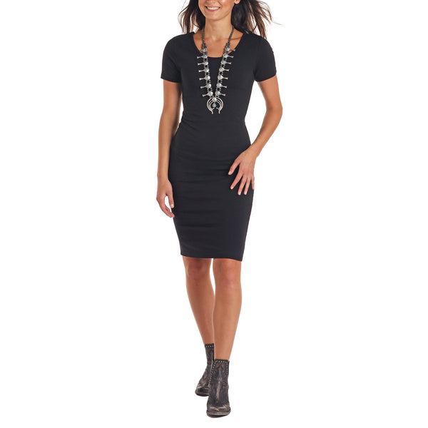Panhandle Ladies Short Sleeve Fitted Knit Black Dress J9D8745-01