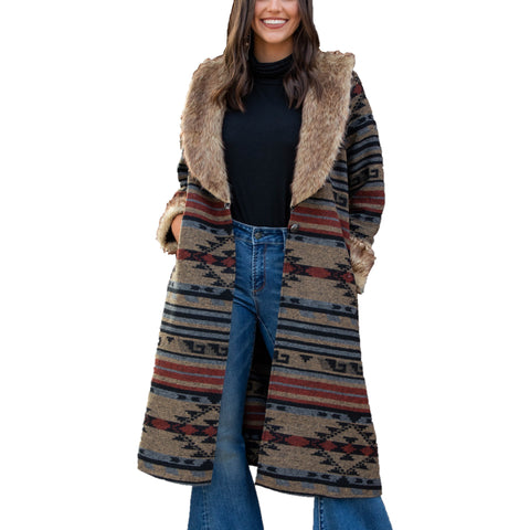 L&B Ladies Wool Aztec With Natural Fur Duster Jacket LJO200602AW