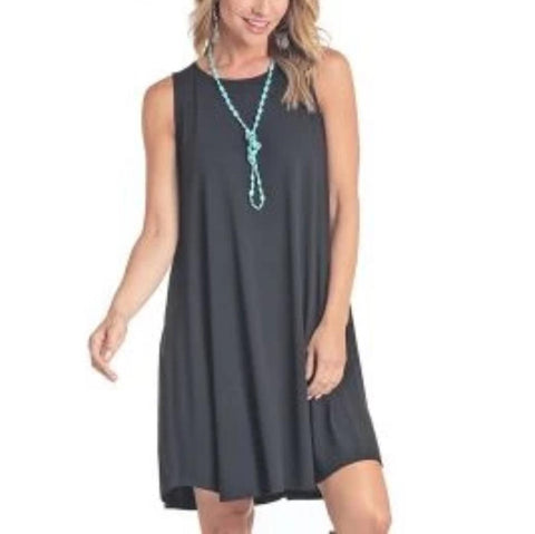 Panhandle Ladies Gray Knit Swing Dress L7D4334-48