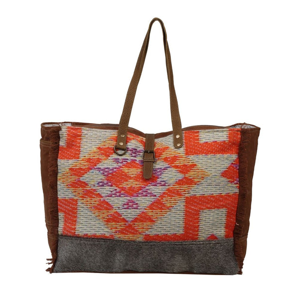 Myra Bag Bright Sight Canvas Rug & Leather Weekender Bag S-2562