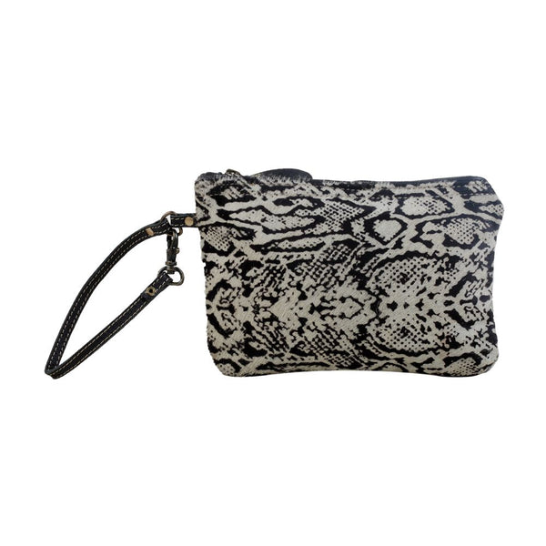 Myra Bag Snake Print Cowhide Black & White Zippered Pouch S-2919