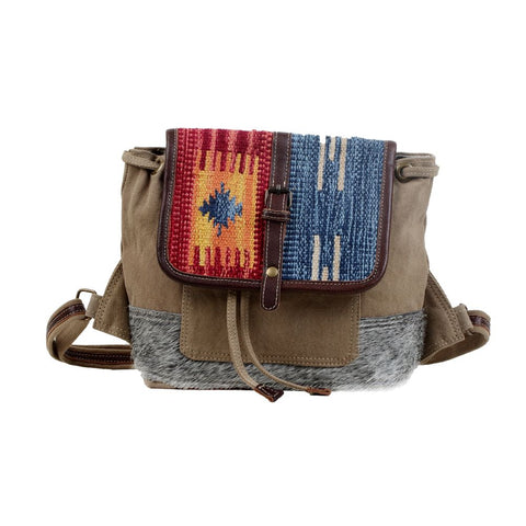 Myra Bag Amber & Azure Cotton Rug & Canvas Back Pack Bag S-3052