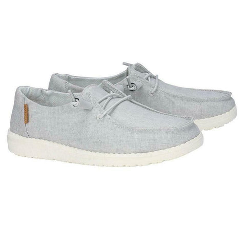 Hey Dude Ladies Wendy Linen Chambray Light Grey Shoes 121413058
