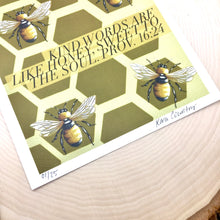 Load image into Gallery viewer, Honey Bees - Kind Words & Honey- Print