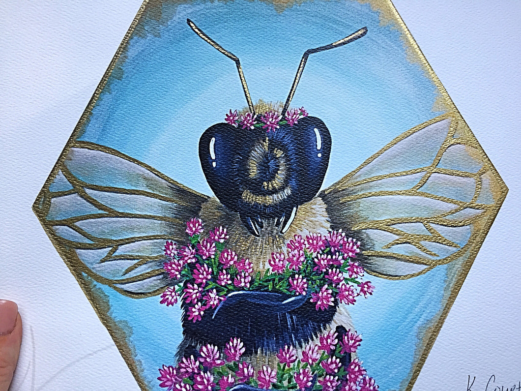 Love of Red Clover Bee Print