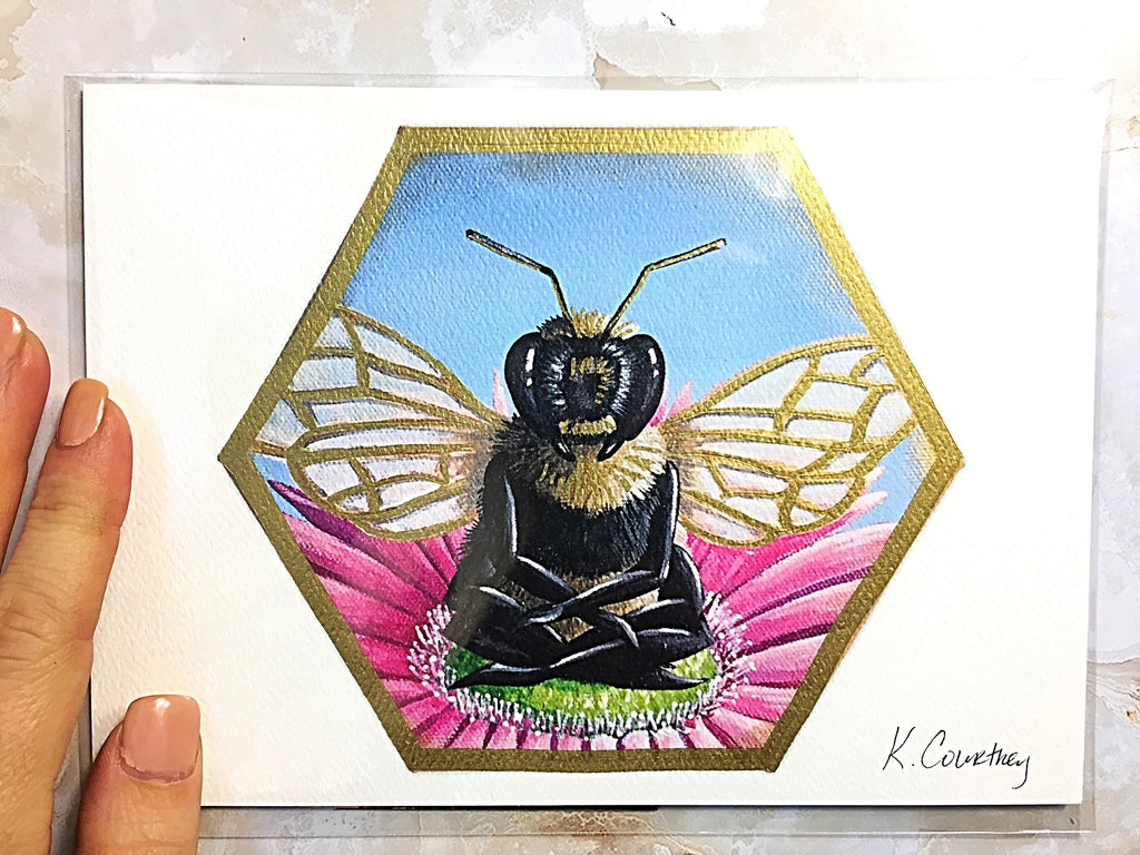 Bee Peaceful Flower Print