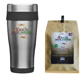 16oz Stainless Travel Mug +12oz Bag of Coffee Bundle