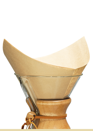 CHEMEX® Bonded Unbleached Pre-Folded  Square Coffee Filters - 100 count