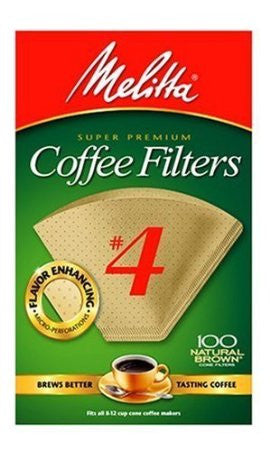 Melitta Cone Coffee Filters Natural Brown #4 (100 Count)