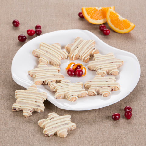 Cranberry Orange Shortbread Snowflakes with White Chocolate Drizzle