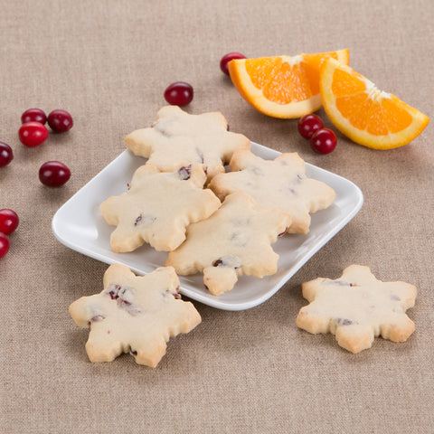 Cranberry Orange Shortbread Snowflakes