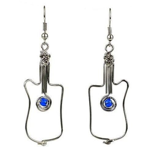 Handmade Silver Plated Wire Guitar Earrings - Zakali Creations