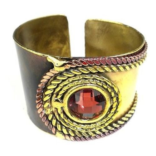 Rope and Rose Stone Brass Cuff - Brass Images (C)
