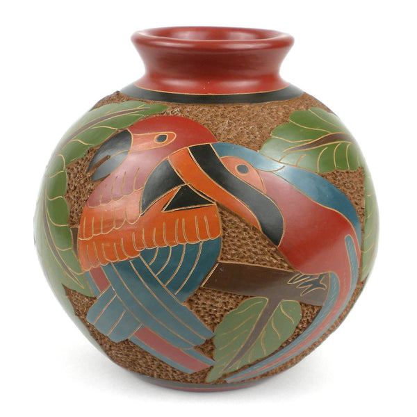 6 inch Tall Vase - Two Birds - Esperanza en Accion