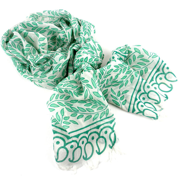 Leaves and Paisley Design  Cotton Scarf with Fringe - Asha Handicrafts