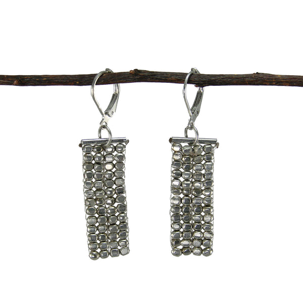 Rectangle Cubist Earrings - silver - WorldFinds