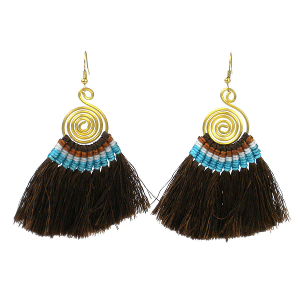 Tribal Spiral Tassel Earrings - Chocolate - Global Groove (J)